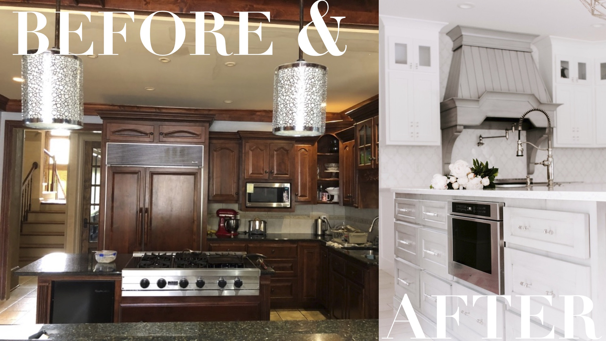 Before and After of the new hood elevation. Moving the fridge allowed us to take the range off of the island and create a nice center focal point on this back wall.