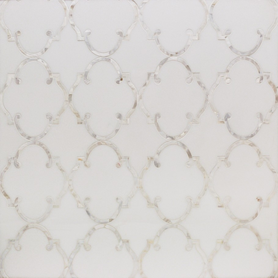 We used a Marrakesh White Marble With Shell Backsplash