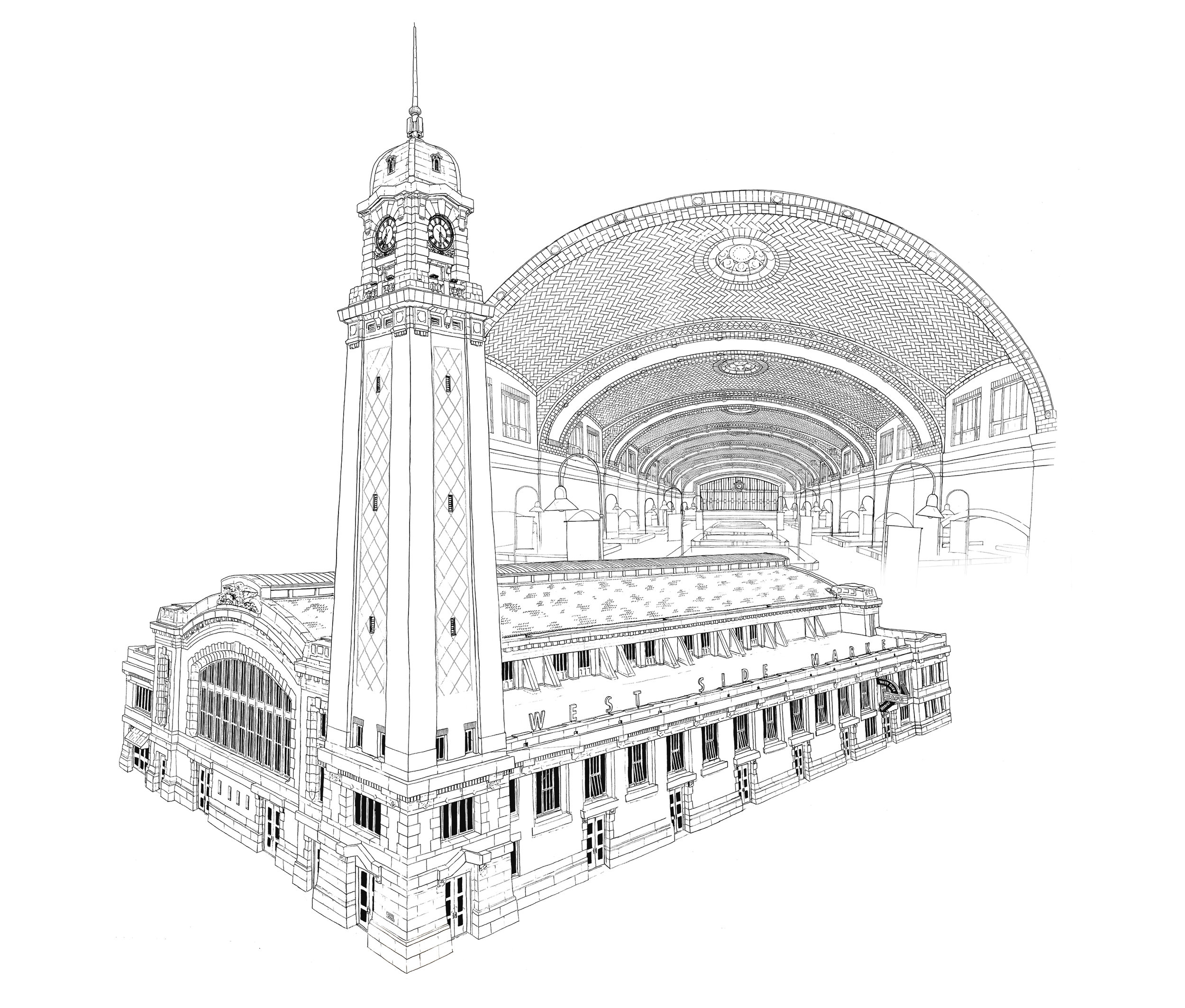 West Side Market Pen and Ink