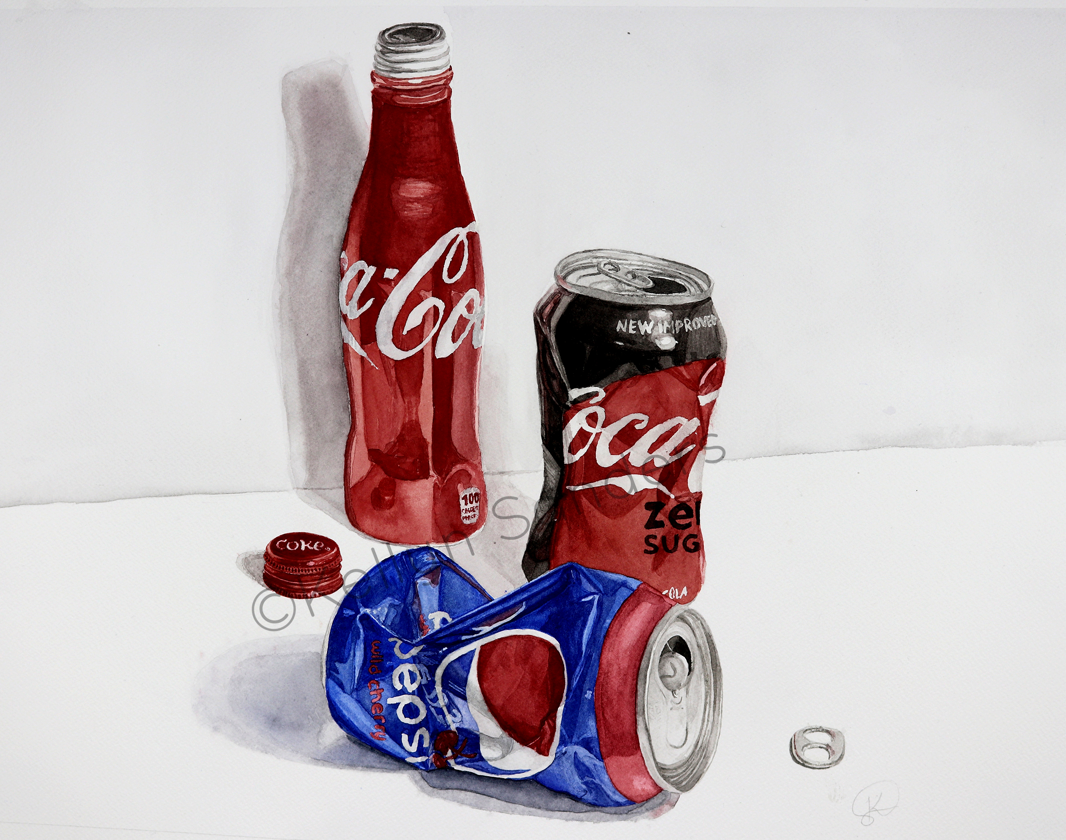 Coke vs. Pepsi Watercolor