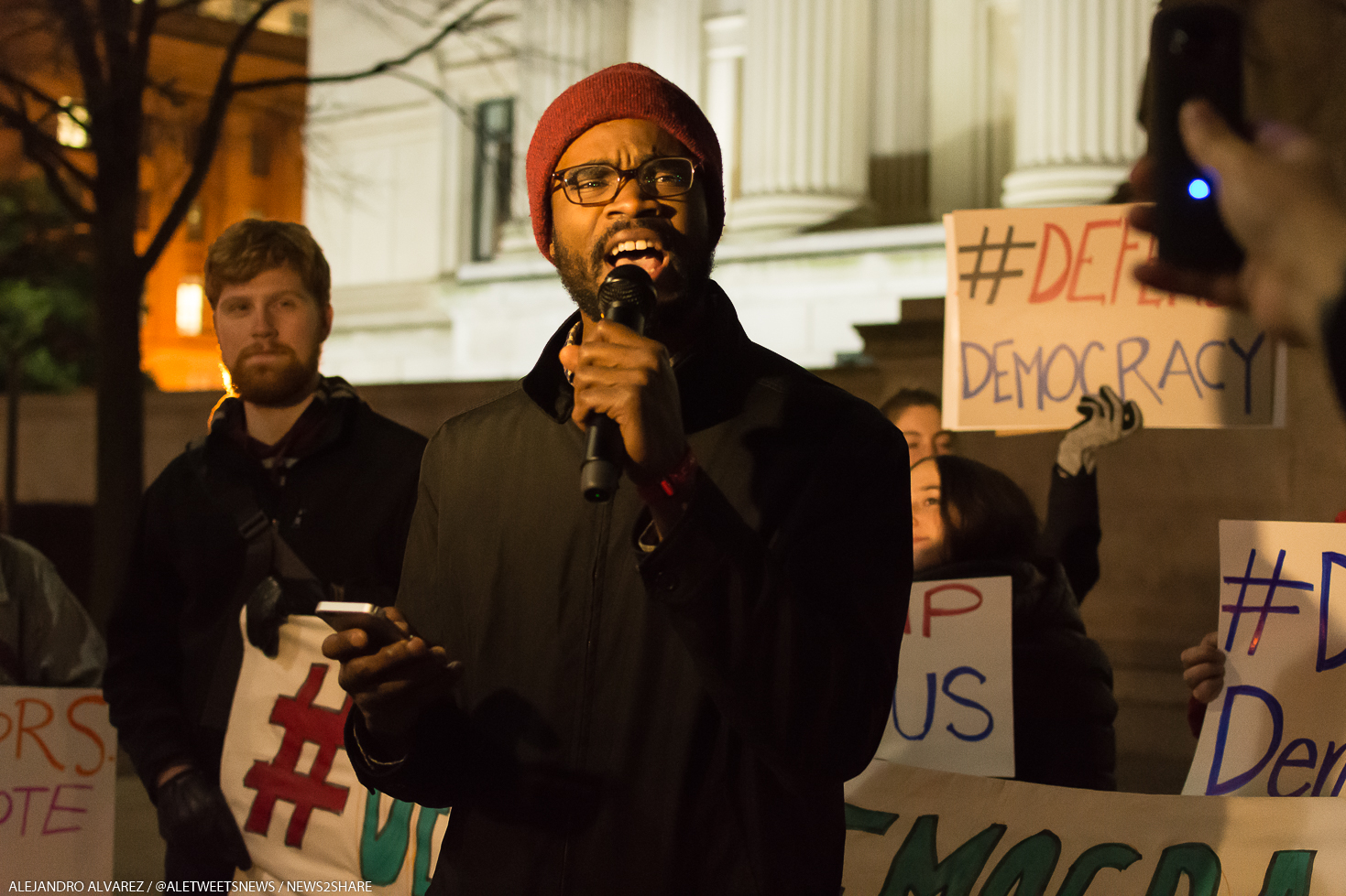 """Eric Jones, with millennial activist group """"All of Us,"""" calling for the Electoral College to delay the vote or dump Trump on Wednesday night."""