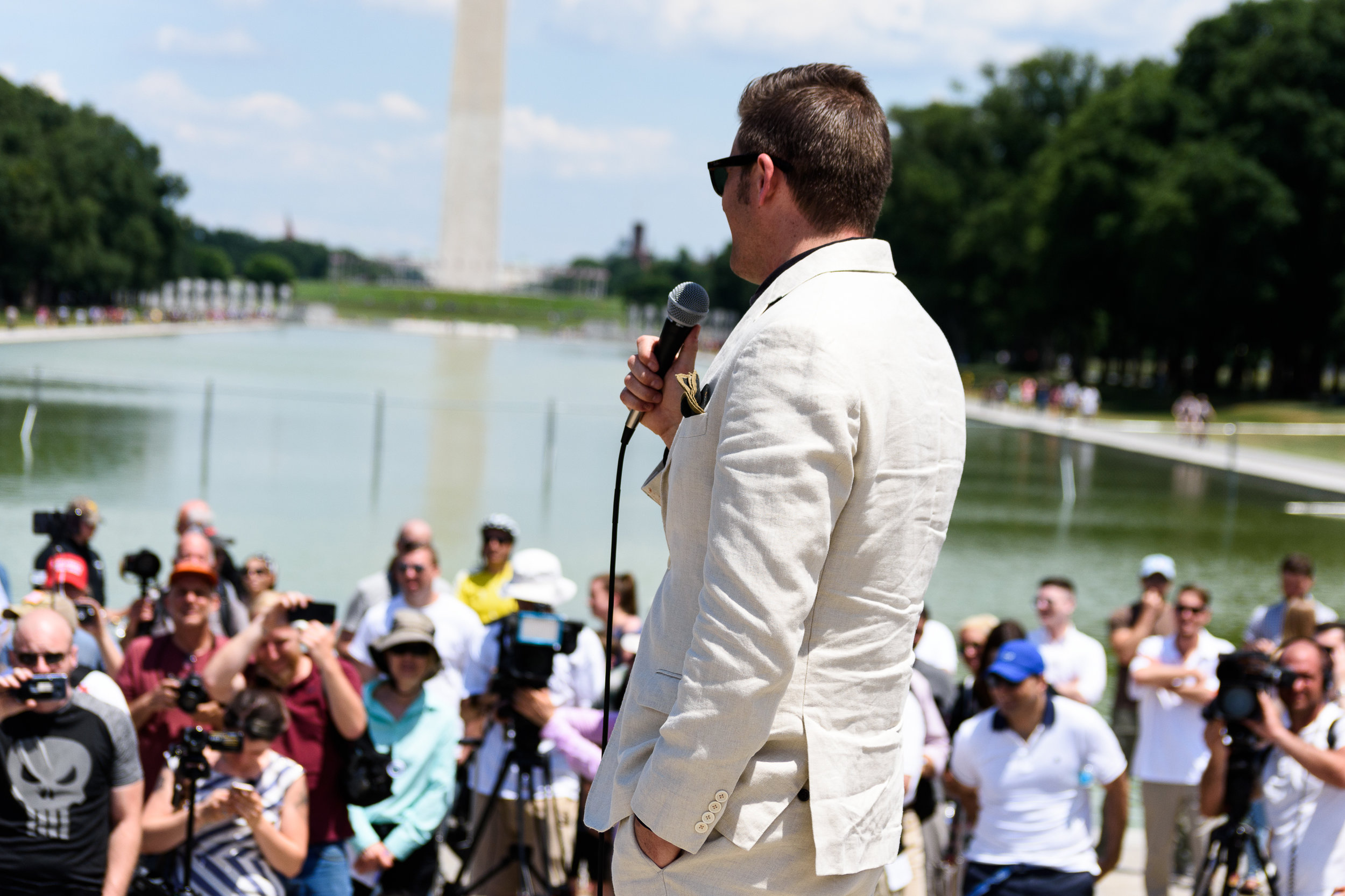 White nationalist Richard Spencer addresses the alt-right in the shadow of the Lincoln Memorial.