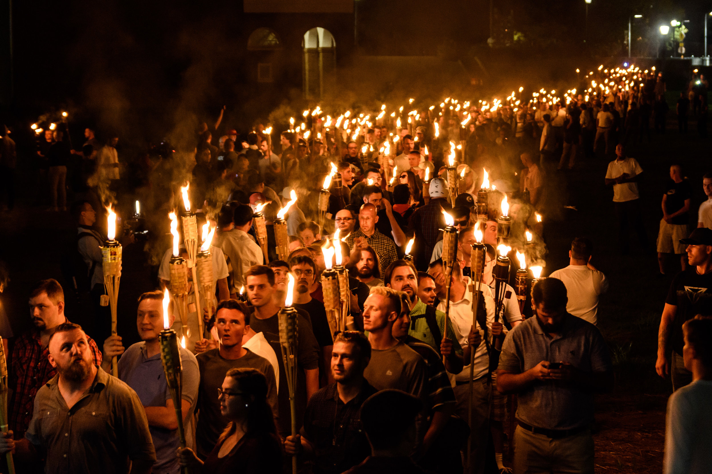 Alt-right lead a surprise march with tiki torches through the University of Virginia, the day before a white supremacist rally in Charlottesville, Virginia. (Alejandro Alvarez, News2Share)