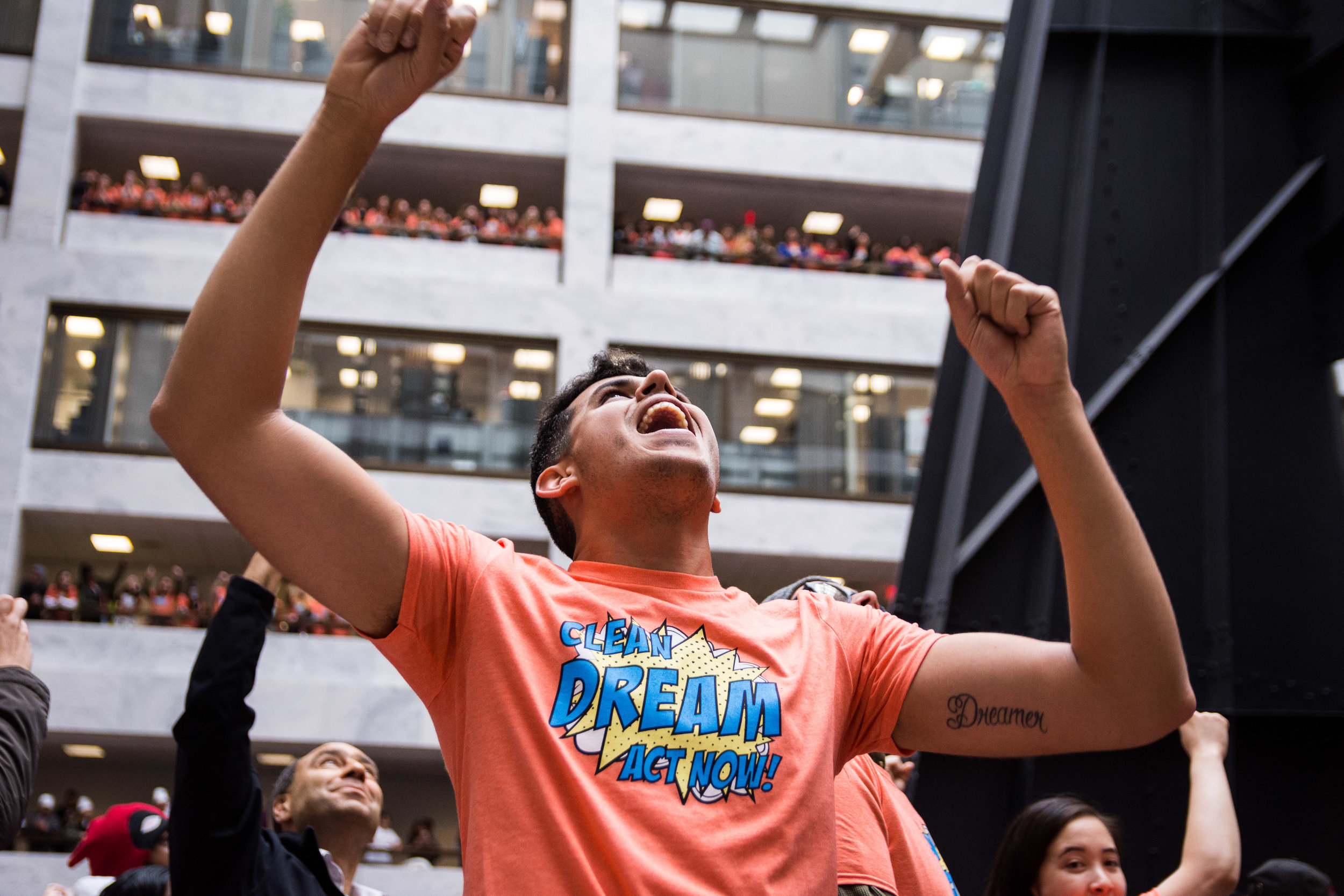 A DREAMer shouts during a protest for a clean DREAM Act inside the Hart Senate Office Building on November 9, 2017. (Alejandro Alvarez / ThinkProgress)