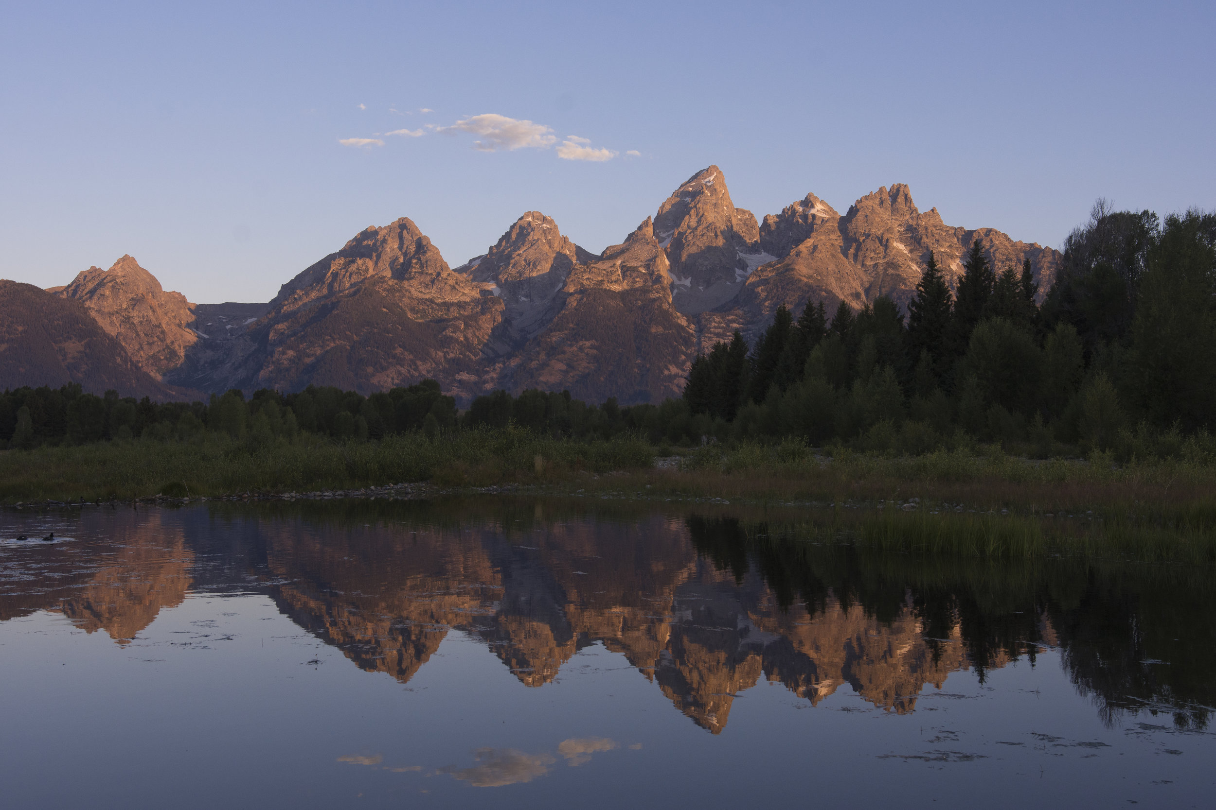 This viewpoint of the Tetons does not require pitching your tent on a cliff. (Grand Teton National Park, WY.)