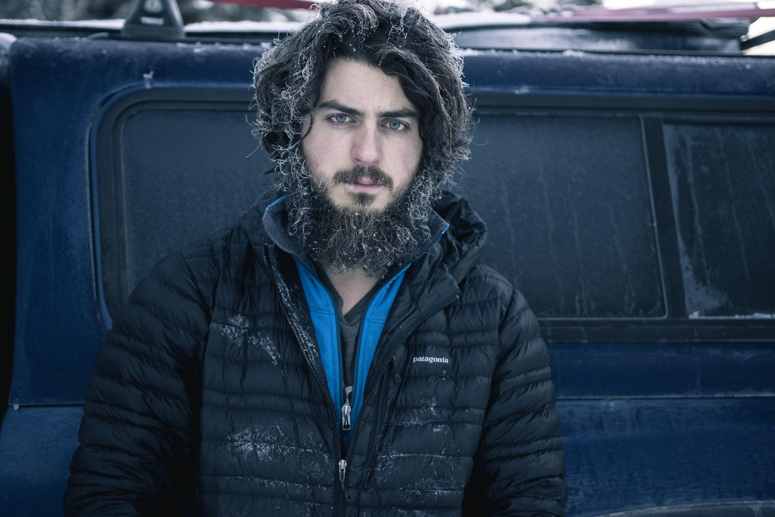 Longer hair, shorter beard now. And a little less snow. (Liard River, British Columbia)