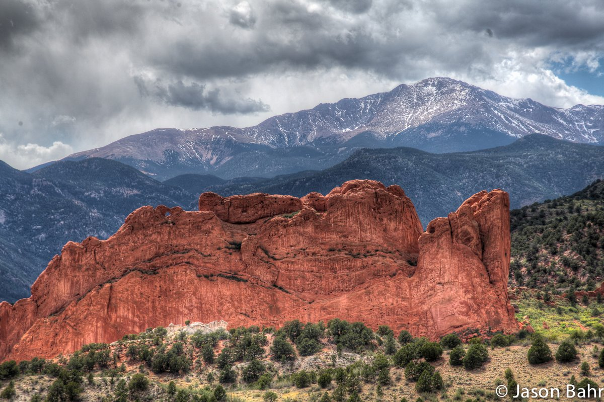 Overlooking Garden of the Gods with Pike's Peak in the background.