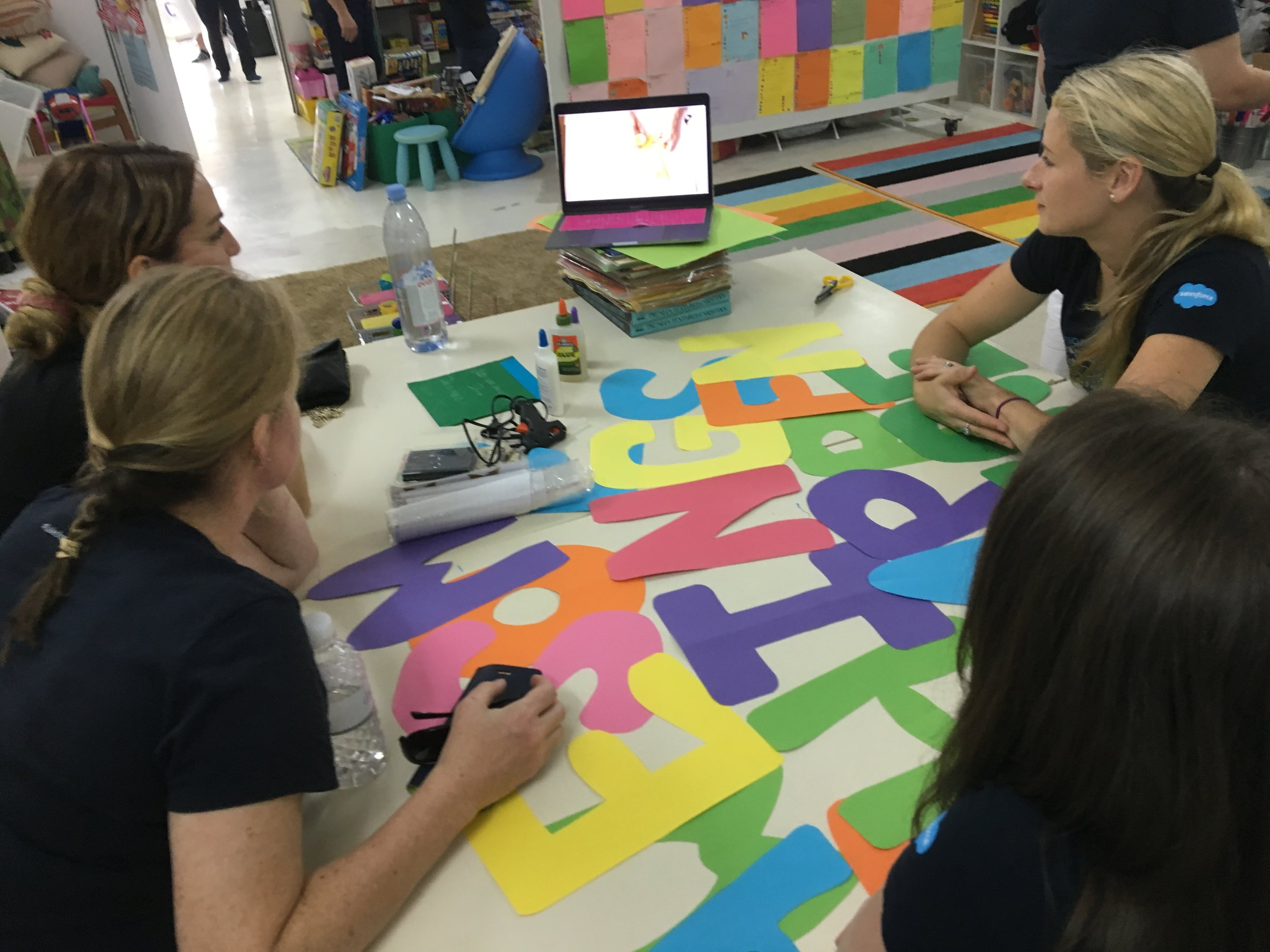 Team members learning how to create some gorgeous wall art for one of our classroom walls!