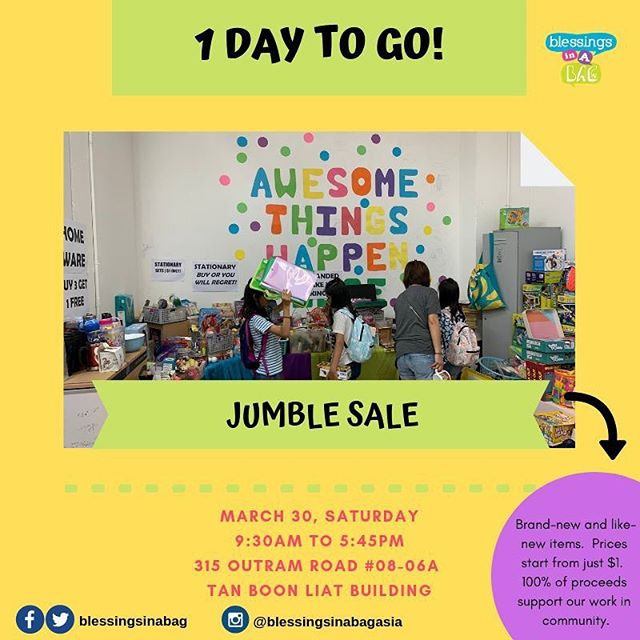 ⭐️1 DAY TO GO⭐️ We've re-stocked all of our shelves and we've significantly marked down items - everything must go! 🤩😍🤪😱 Some samplers: - Brand New Soccer Balls at $20 (originally $35-$50) - Brand New Inflatable Pool Products $20 and $30 (originally $50, $70 and $100+) - Brand new school and office supplies going for $1 - Soft Toys going for $1 - ALL books 5 for $3 ...and lots more! 👉30 March | Saturday 👉Jumble Sale: 9:30AM - 5:30PM 👉Creative Play/Art Jam: 1:00PM - 5:45PM 👉315 Outram Road, #08-06A Tan Boon Liat Building  Tag a few friends and share this post 😍👀. If you have questions, please leave us a message below! 👇⠀⠀⠀ ⠀⠀⠀ 👩‍💻http://www.blessingsinabag.co⠀⠀⠀ 💌blessingsinabag [at] gmail [dot] com⠀⠀⠀ 🐥http://www.twitter.com/blessingsinabag⠀⠀⠀ 📣http://www.facebook.com/blessingsinabag⠀⠀ 🤳 http://www.instagram.com/blessingsinanagasia  Official event page for our Jumble Sale and Open House activities can be found here: https://www.facebook.com/events/2306938649535389/  You can pre-register a place in our Creative Play/Art Jam session by making a $5 gift to our program*: https://beyondawesomeplay.peatix.com/view *Free mini tote bag door gift for the first 16 individuals who register online and are the first to arrive at our session. Free magnet door gift for the subsequent 40 individuals who register online and are the first to arrive at our session.
