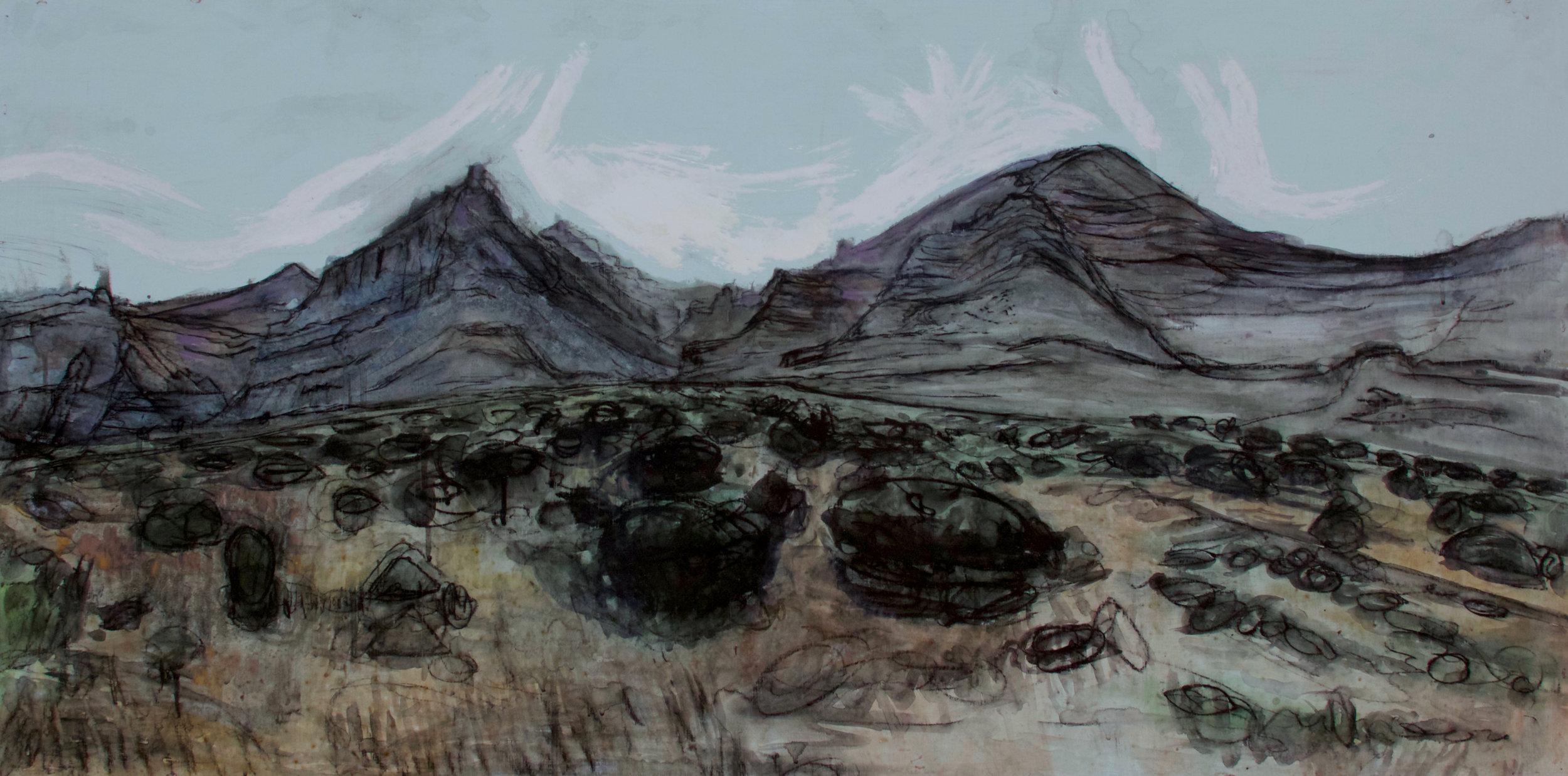"Desolation, Acrylic, Charcoal, Oil - 2015 - 24""x48"" - WIP"