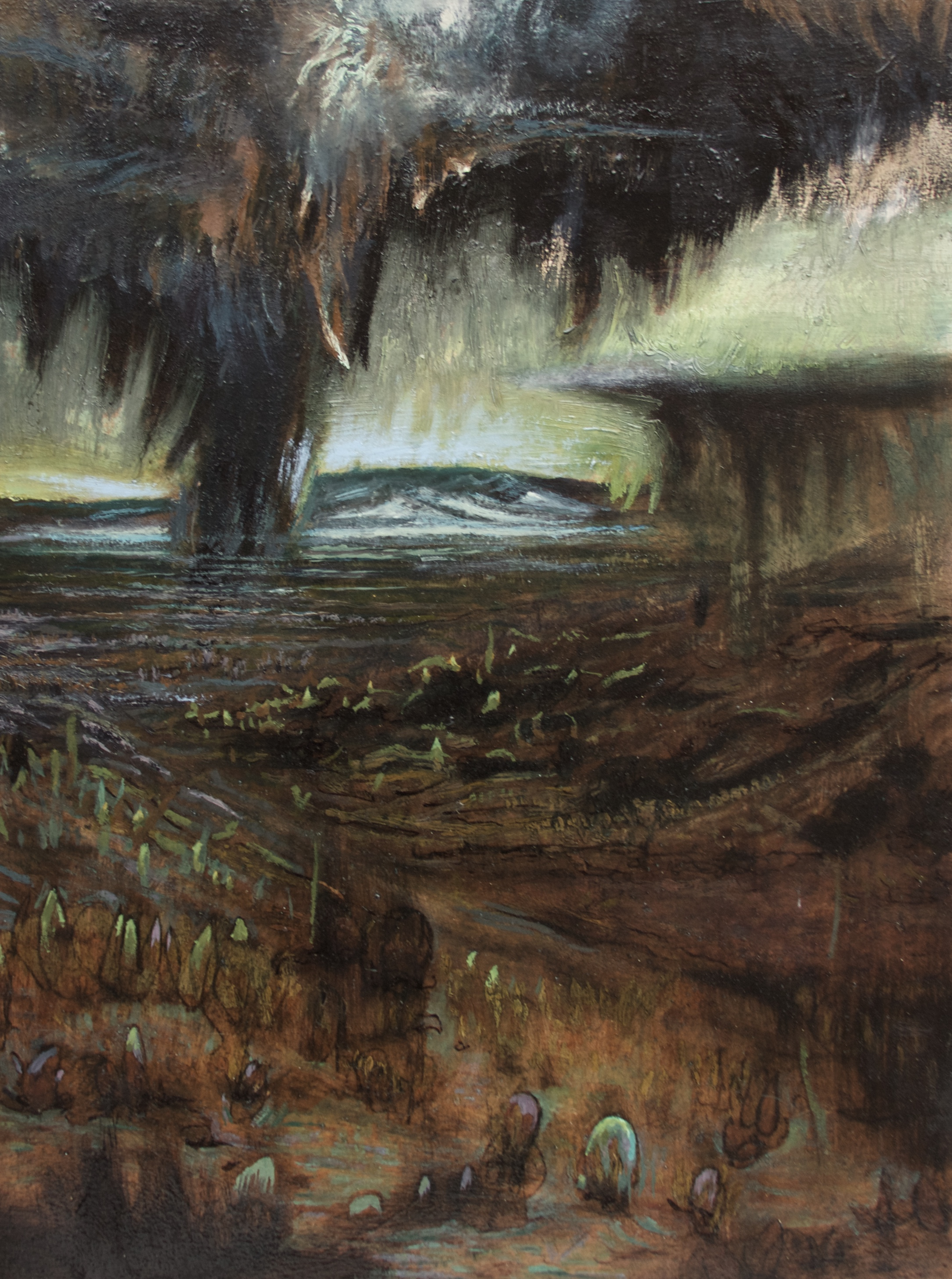 """Land as Open Circuit, Oil, Charcoal - 2016 - 24""""x36"""" - SOLD"""