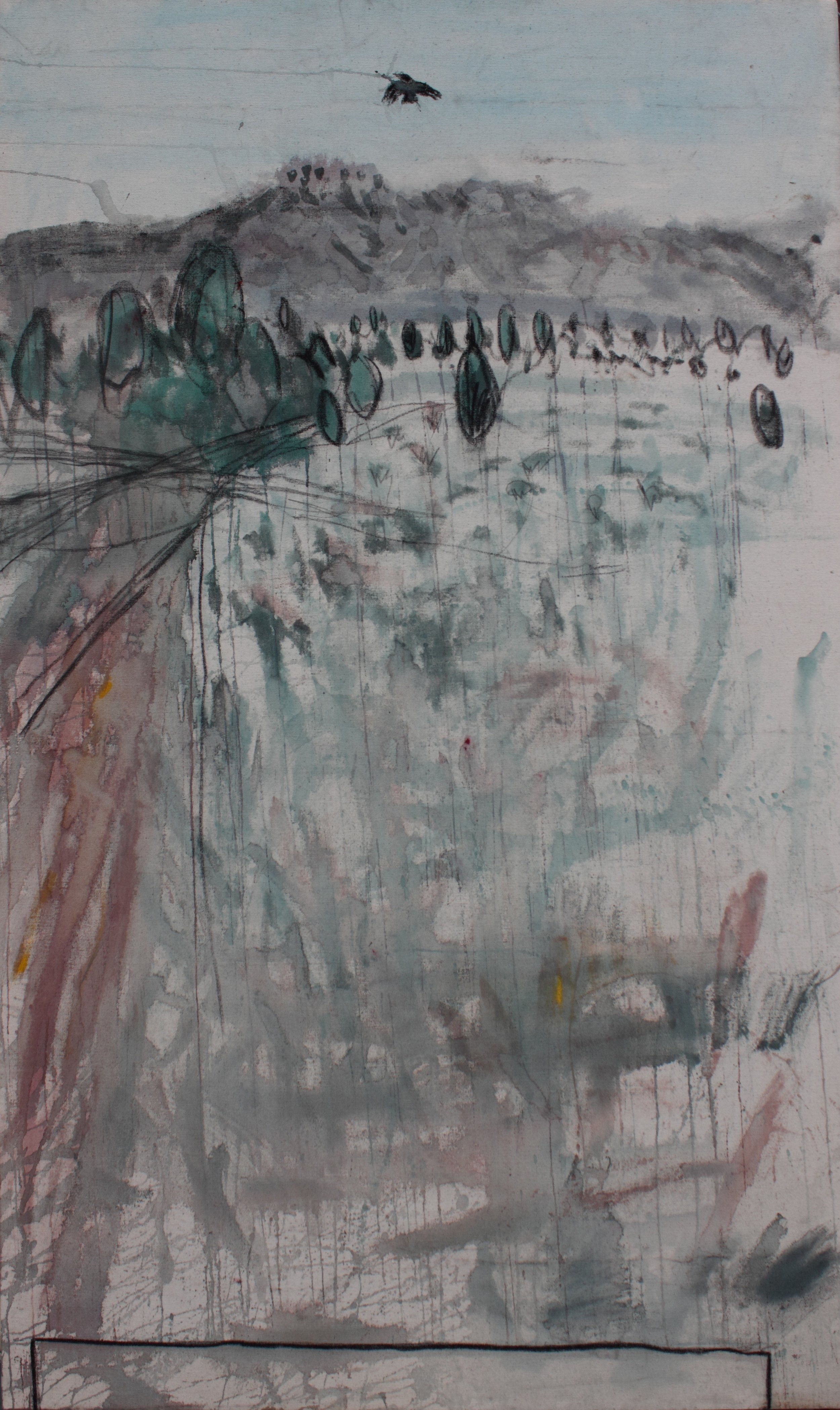 """Raven and Luck, 36"""" X 60"""", 2009, SOLD"""