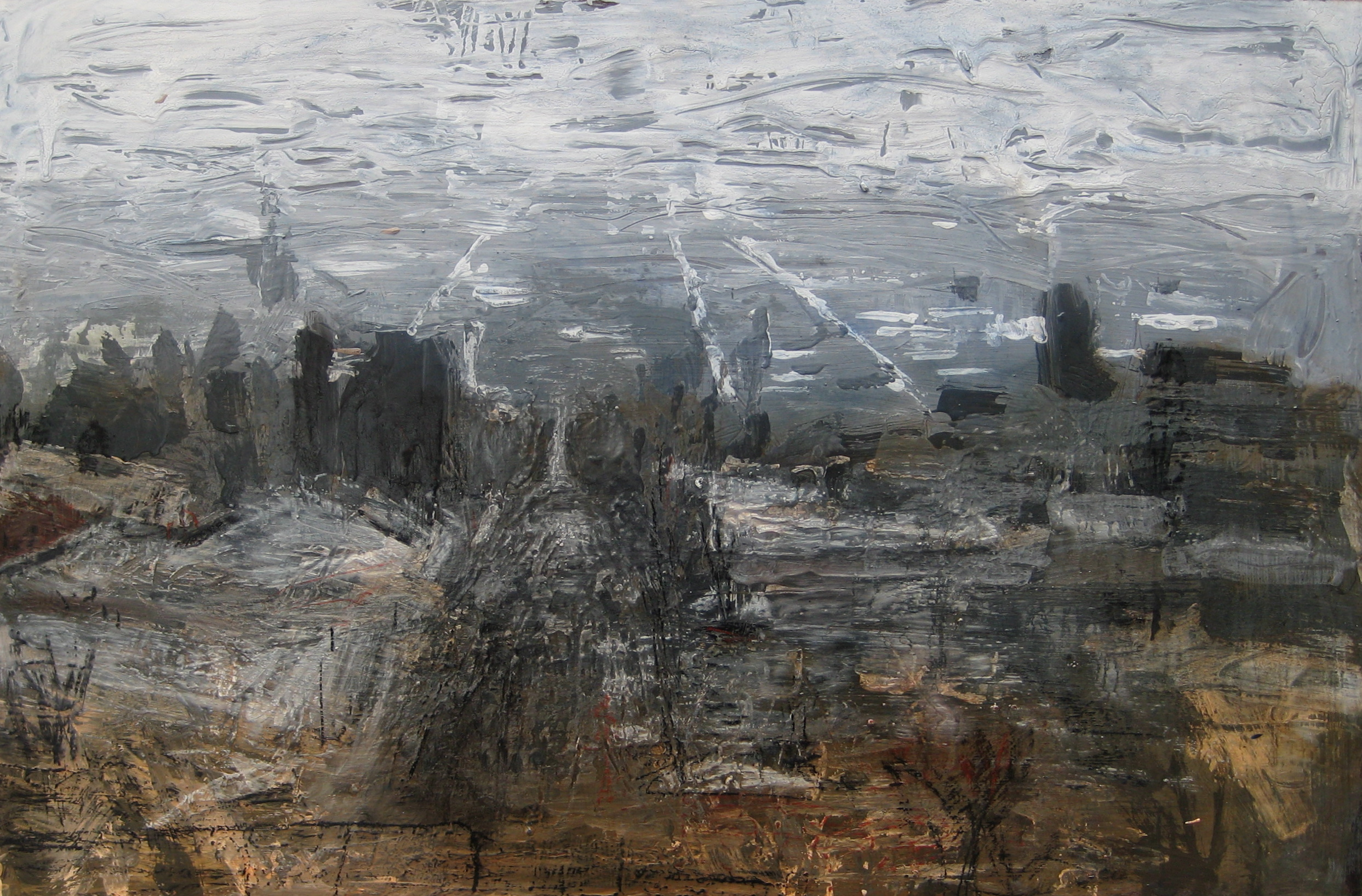 """Untitled Cityscape #1, 16"""" X 20"""", SOLD"""