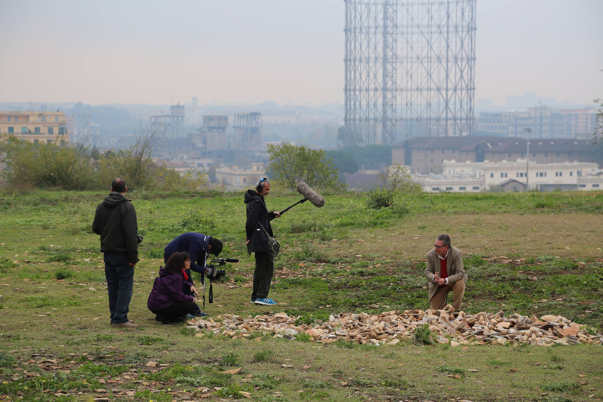 Filming at Monte Testaccio