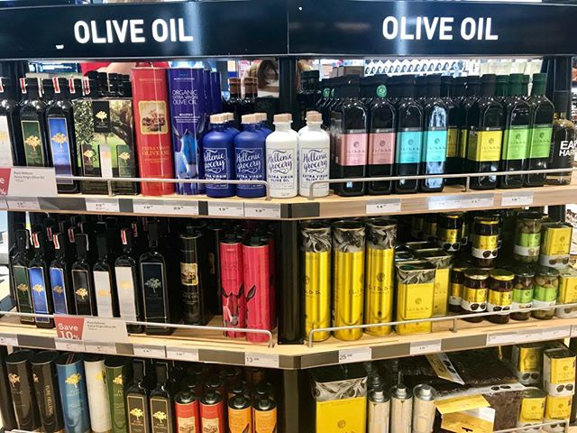 You know you're in the Athens airport when there is more #oliveoil than #alcohol for sale. #filmaboutoliveoil . . . #greekoliveoil #documentary #documentaryfilm #greece #spain #italy #palestine #aceitedeoliva #huiledolive #oliodioliva #femaledirector #writer #eattheworkd #mediterraneandiet