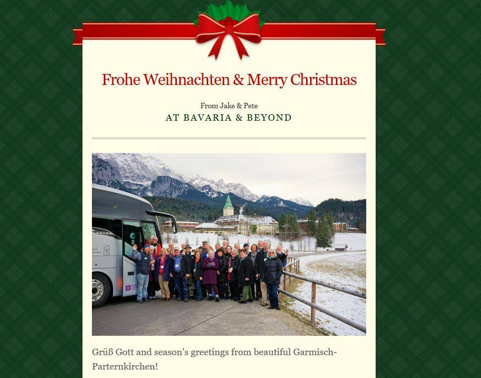 Christmas Newsletter - Season's Greetings from Bavaria & Beyond - Highlights from our very first Christmas Market Tour - Wishing everyone a Happy New Year
