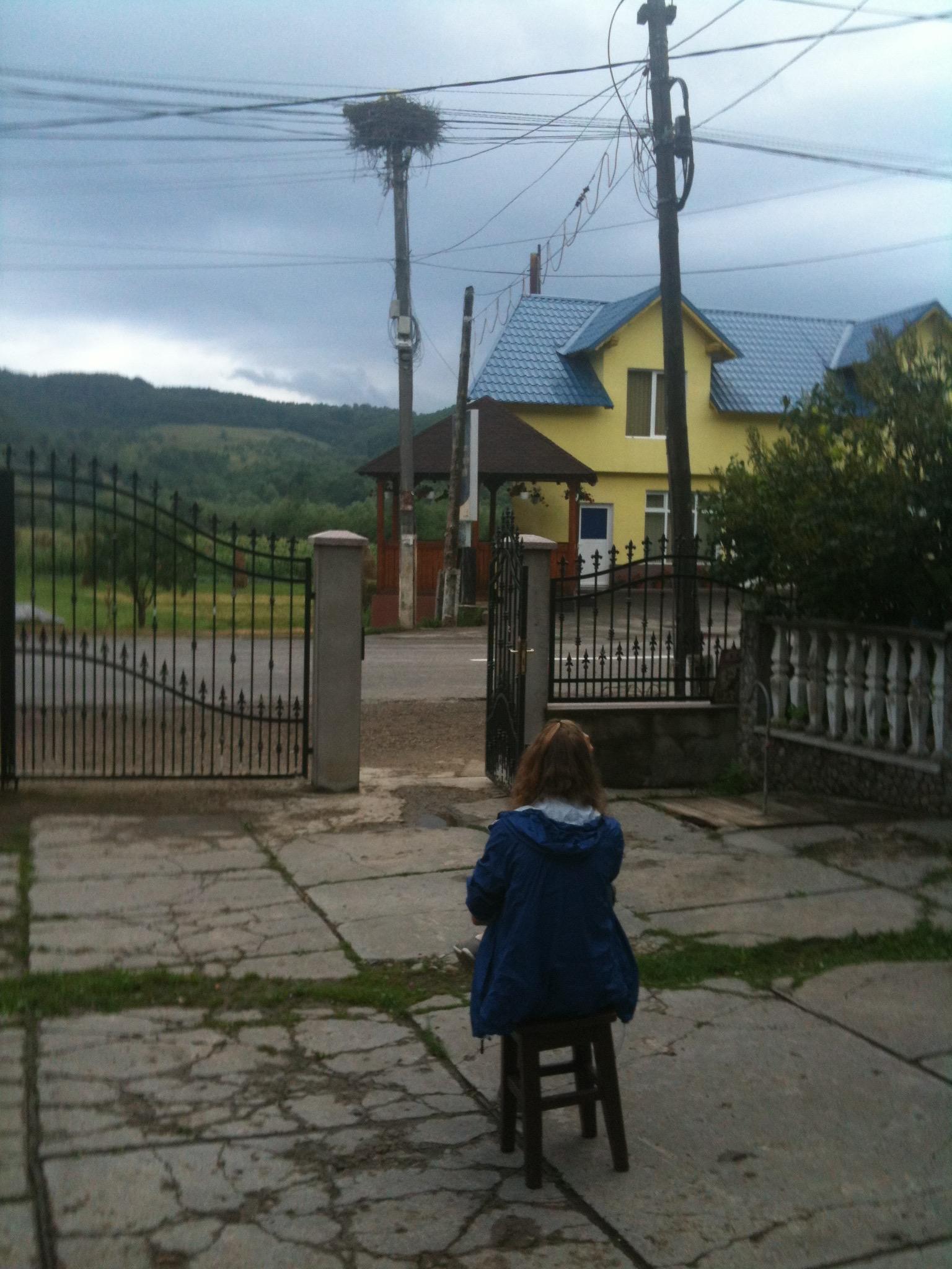 Un nid de cigogne dans un petit village roumain, prêt à accueillir les voyageurs de passage.