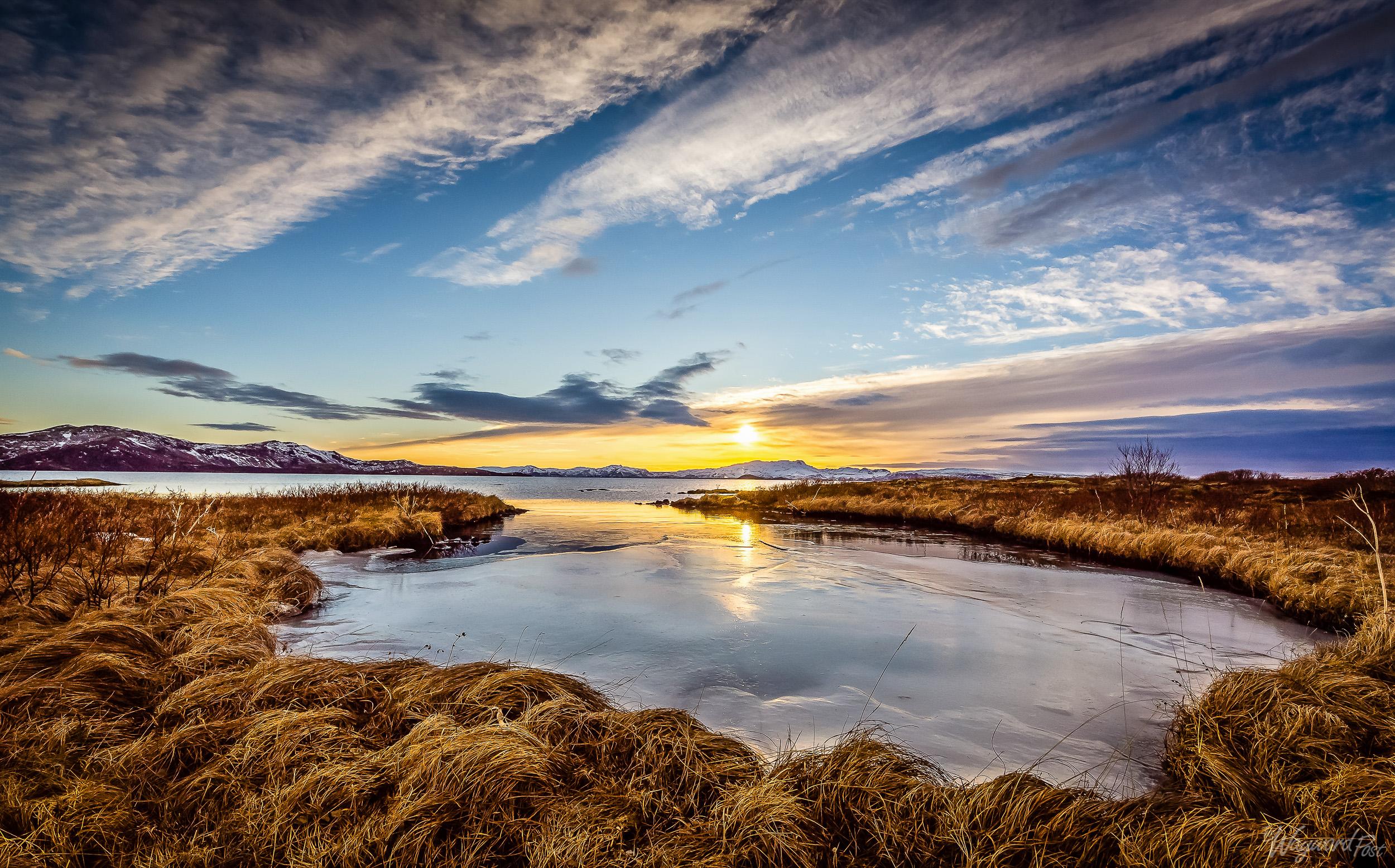 Thingvellir National Park, Iceland, Lake, Ice, Sunset, Mountains, The Waywardpost