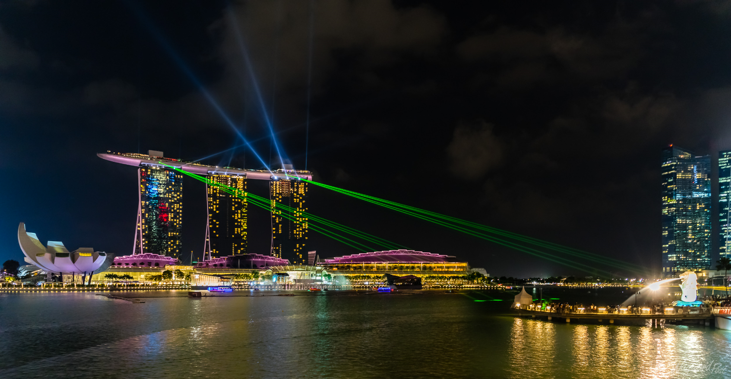 The nightly light show from Marina Bay Sands hotel in Singapore. Photo by Zygmunt Spray.