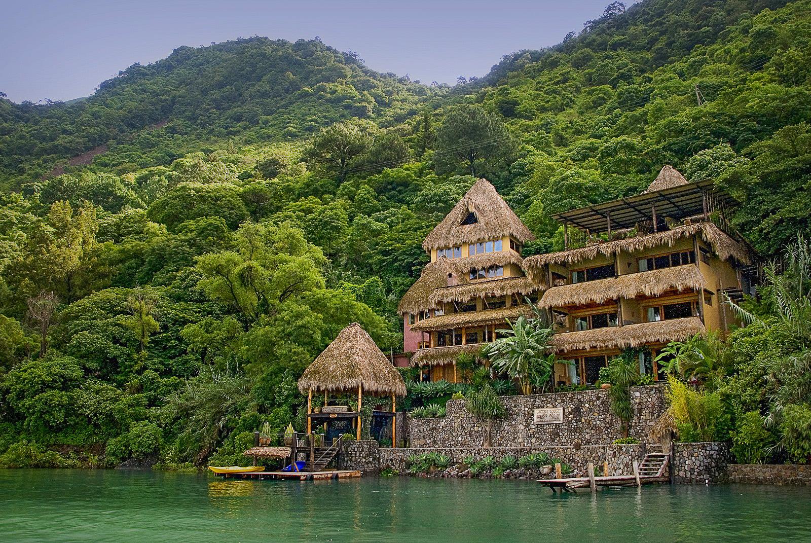 Exterior of Laguna Lodge on Lake Atitlan In Guatemala.Photo courtesy of Laguna Lodge.