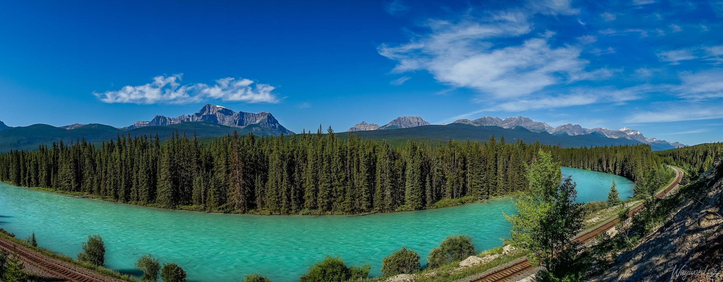 Train Line along Bow River - The Wayward Post - Photo Story - Banff National Park.