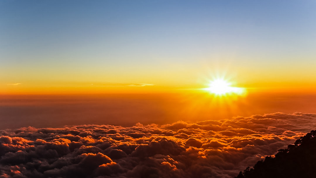 Sunset from Tajumulco in Guatemala. Photo by Laura Fairbourn.