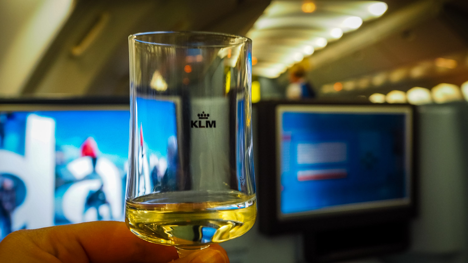 Welcome Champagne - KLM Business Class - by Britney Hope - The Wayward Post