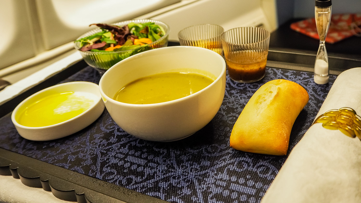 Pea Soup - KLM Business Class - by Britney Hope - The Wayward Post