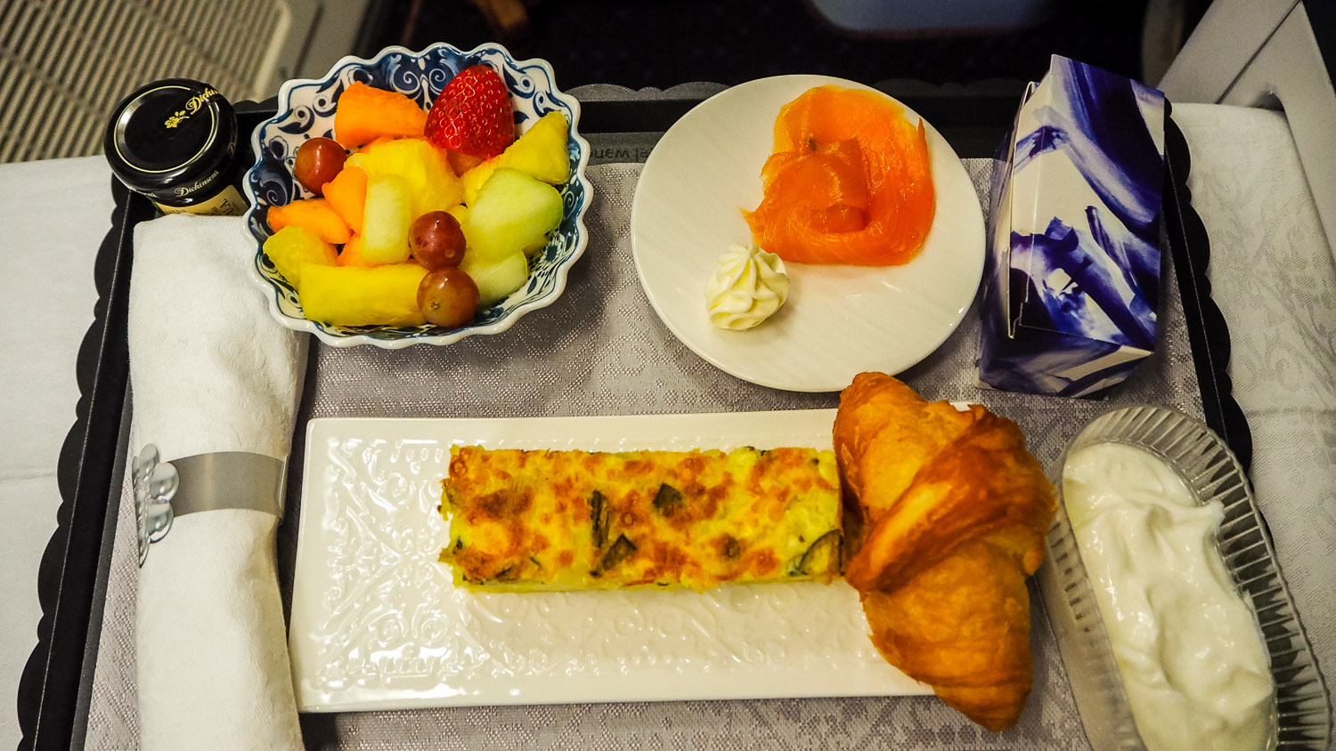 Breakfast - KLM Business Class - by Britney Hope - The Wayward Post
