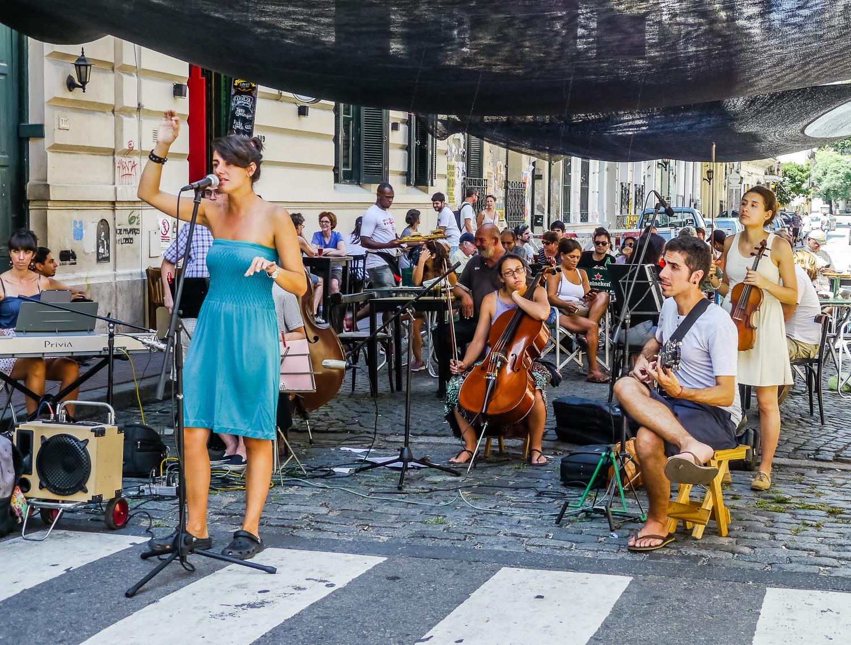 Music at the San Telmo market. Photo by Johanna Read TravelEater.net