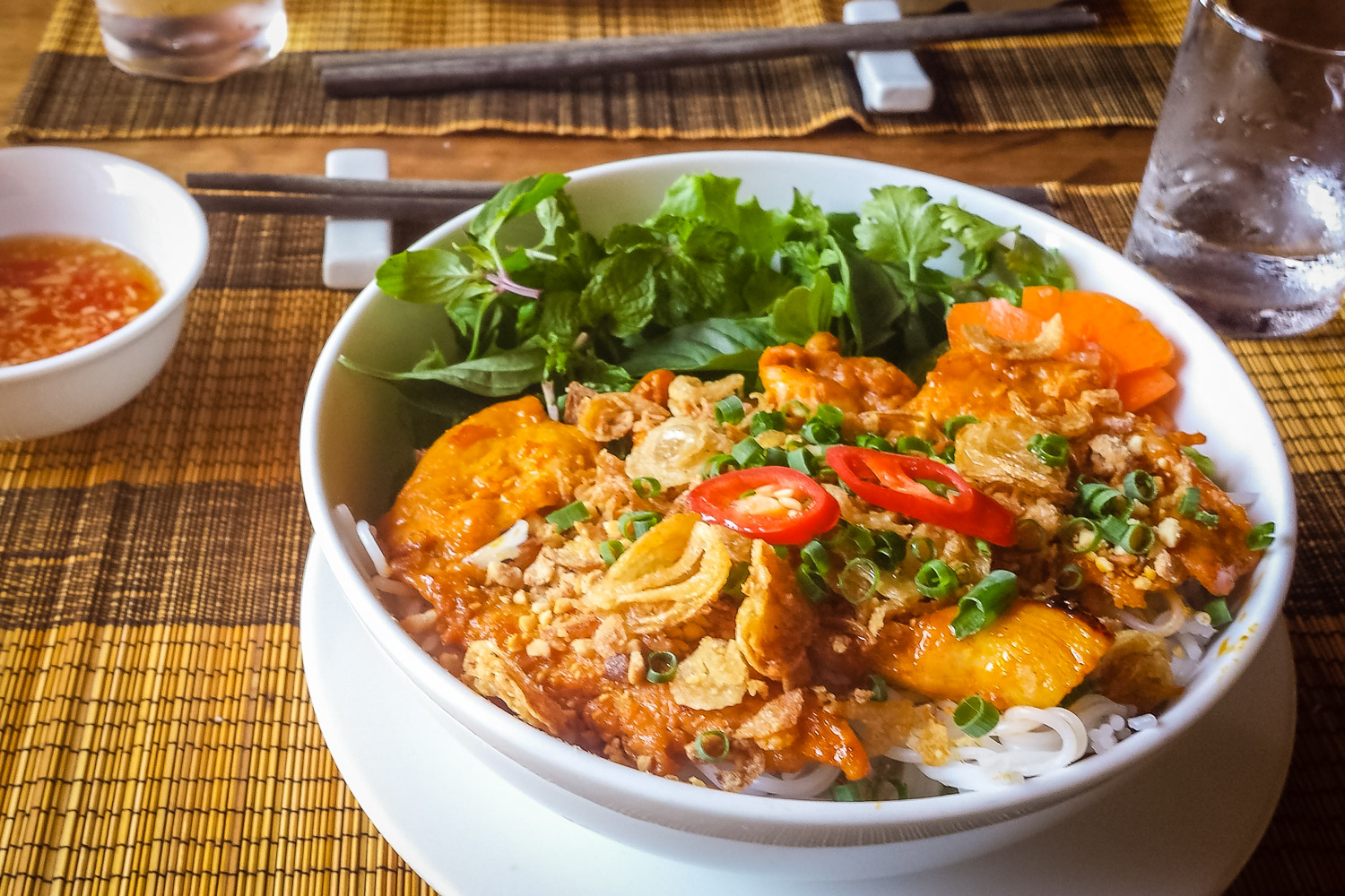 """Bún Gà Nướng """"Rice Noodles Served Cold with Grilled Chicken and Fresh Herbs"""""""