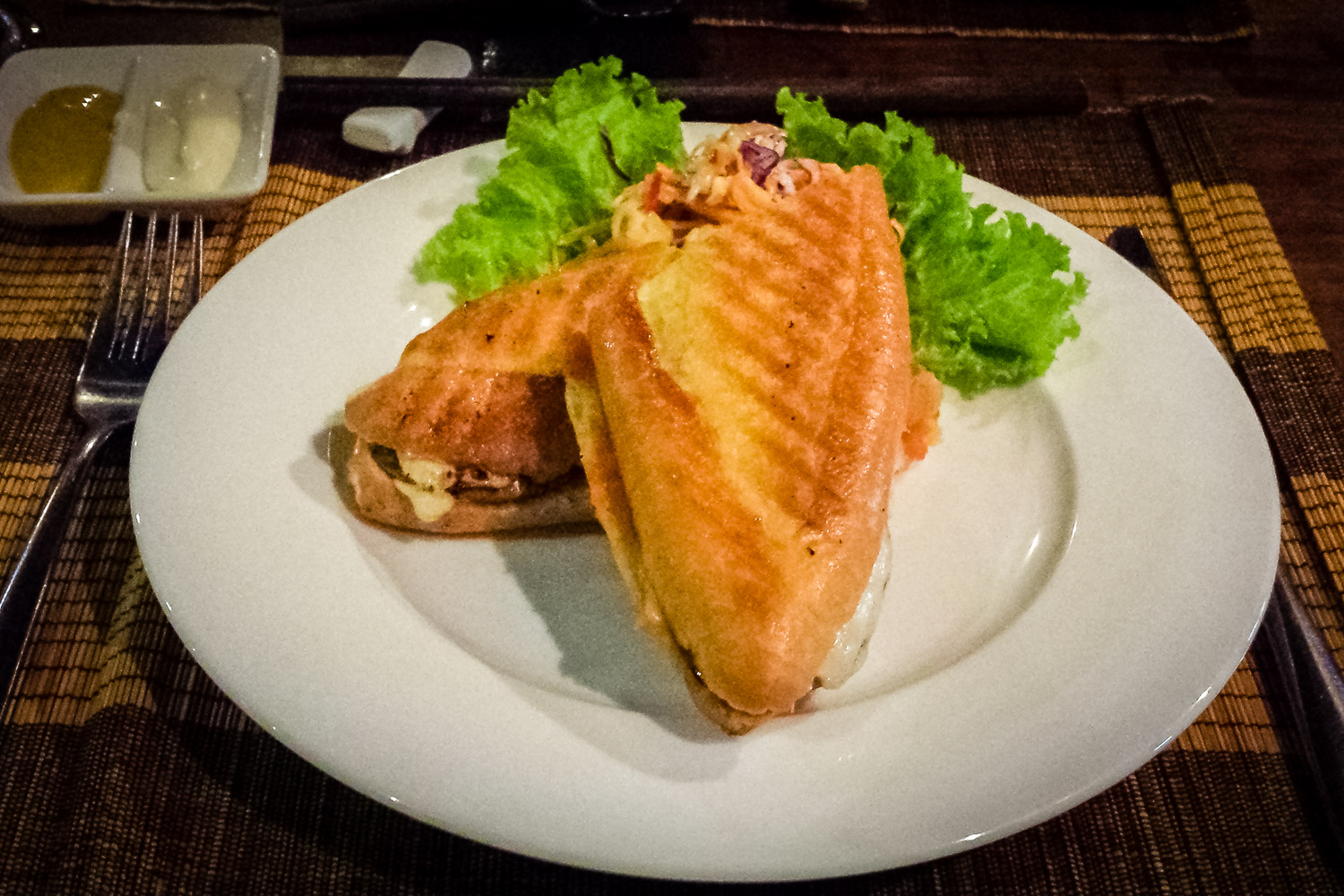 """Bánh Mì Kep Gà, Phở Mai """"Grilled Chicken, Emmenthaler Swiss and Eggplant with Tomato Chutney"""""""