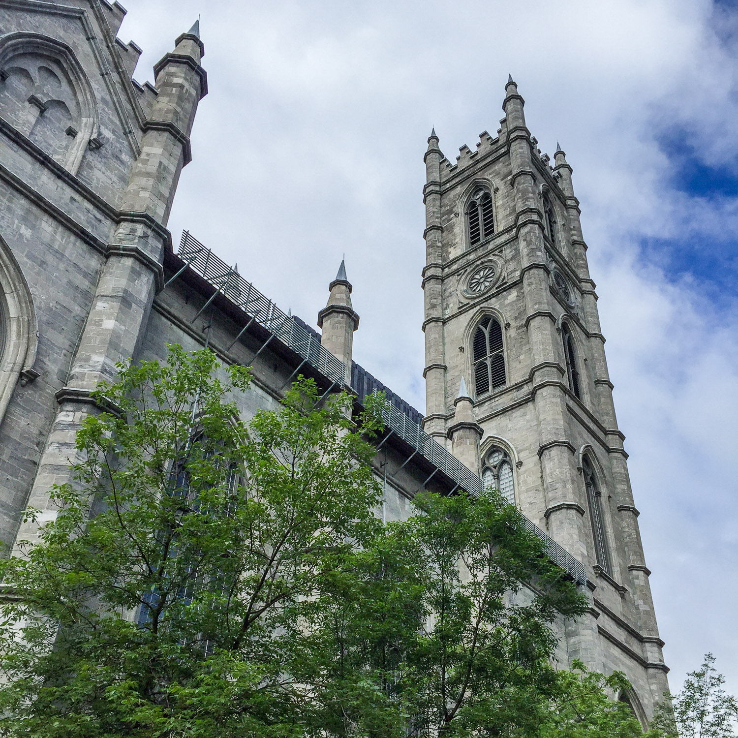 The English Gothic exterior of the historic Notre-Dame Basilica. Credit C Laroye - A Wayward Weekend in Montréal
