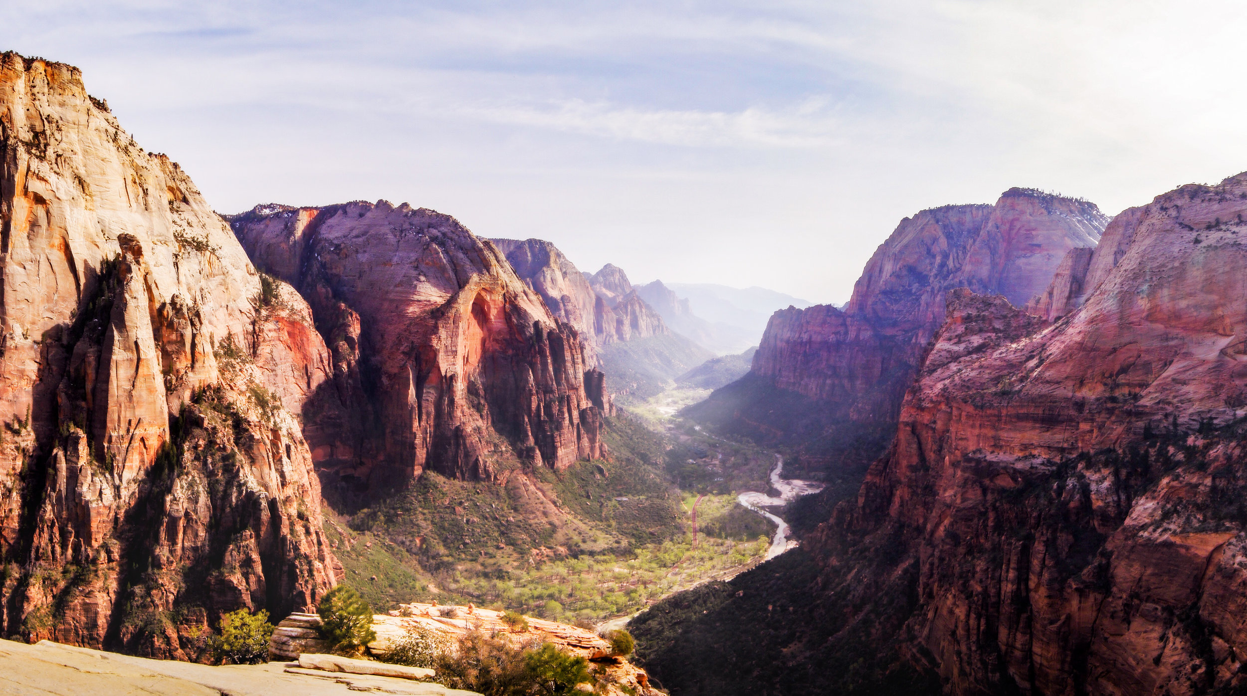 The view of the valley at Zion National Park from Angels Landing. Photo by Zygmunt Spray.