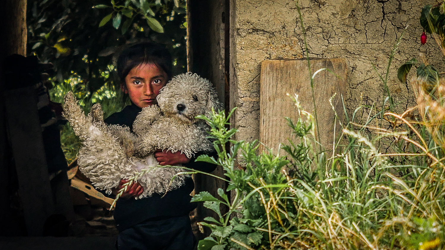 Little girl with dog. Faces of the Worlds Richest People, Ecuador - The Wayward Post
