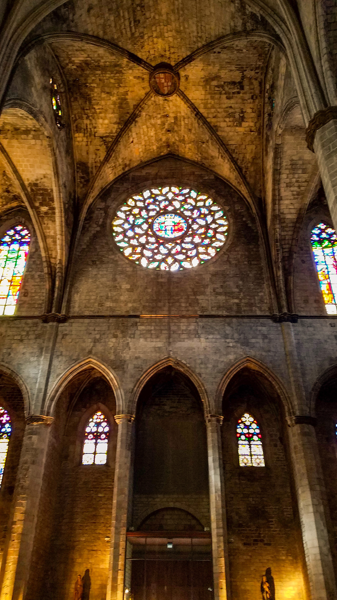 Interior stained glass of Santa Maria Del Mar - Photo by Shelley Treadaway