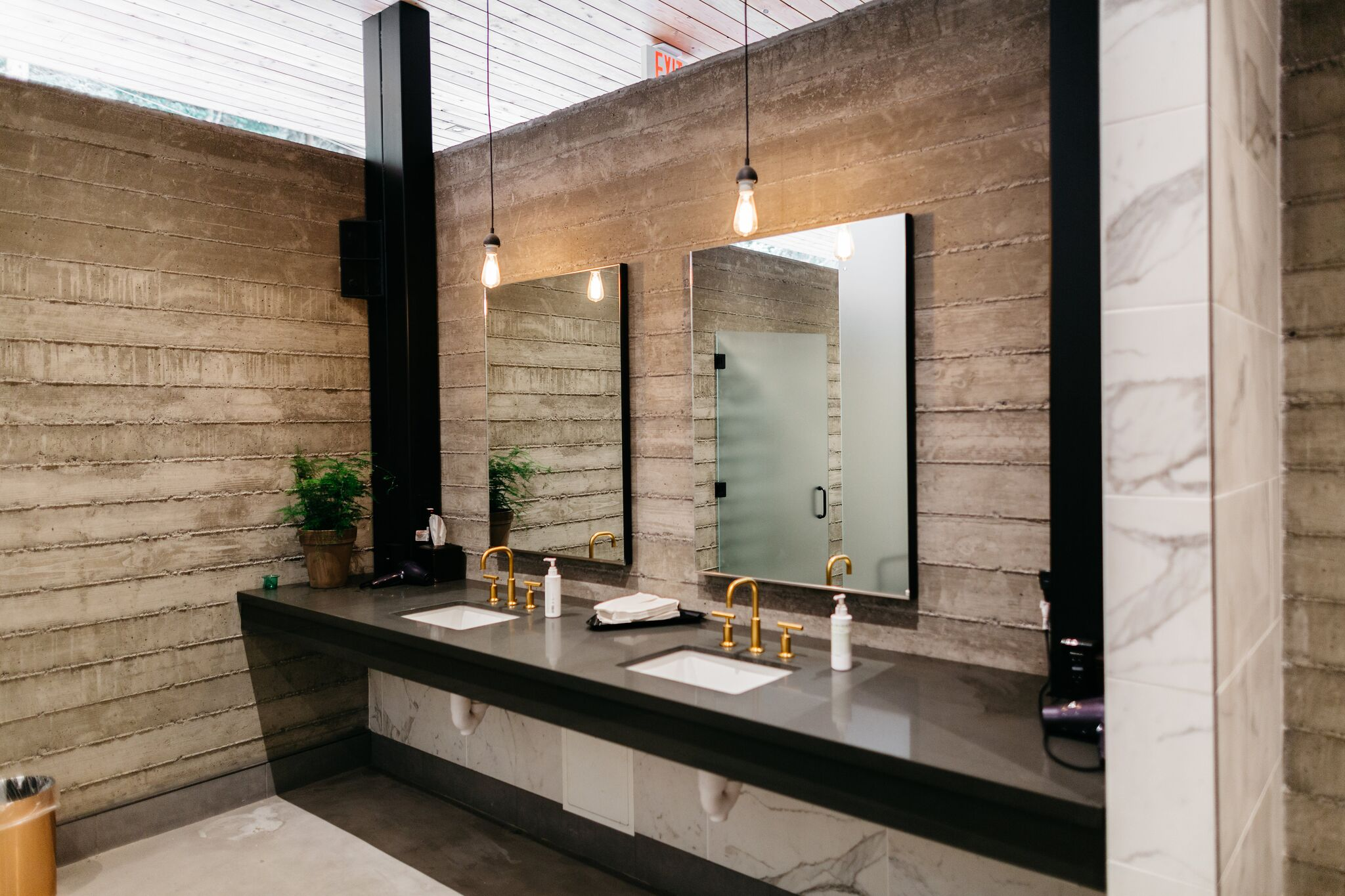 Inside the communal spa-inspired bathrooms in clubhouse. Photo Melanie Riccardi