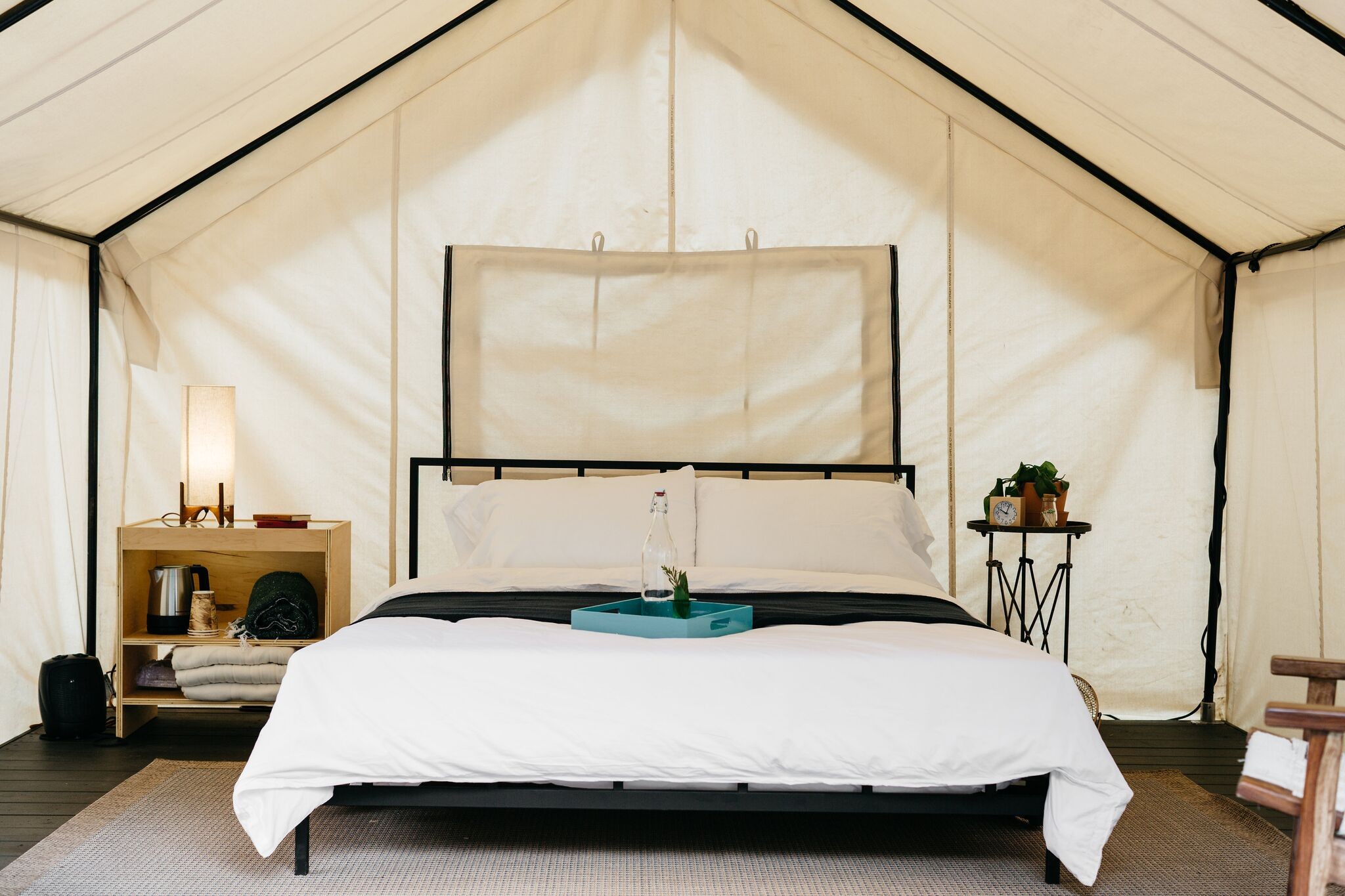 Inside of luxury canvas tent. Photo Melanie Riccardi