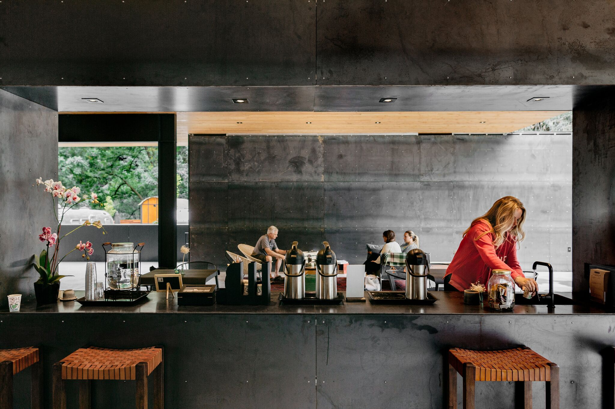 Coffee and tea station in the clubhouse. Photo Melanie Riccardi