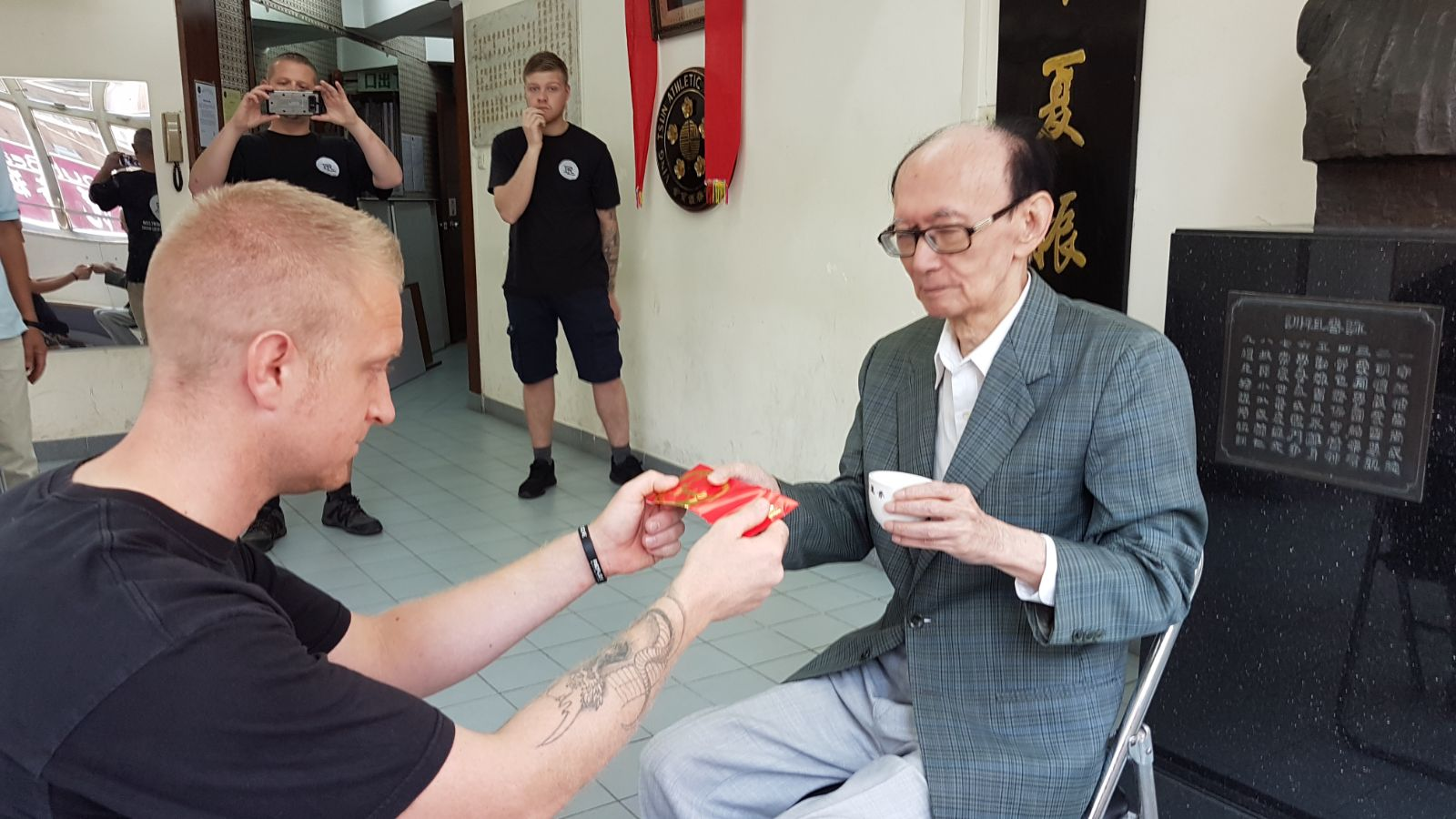 Picture taken during Robert Ley's Bai See Ceremony with his Sifu, GM Roland Tong who was a close friend and long time student of GGM Ip Man