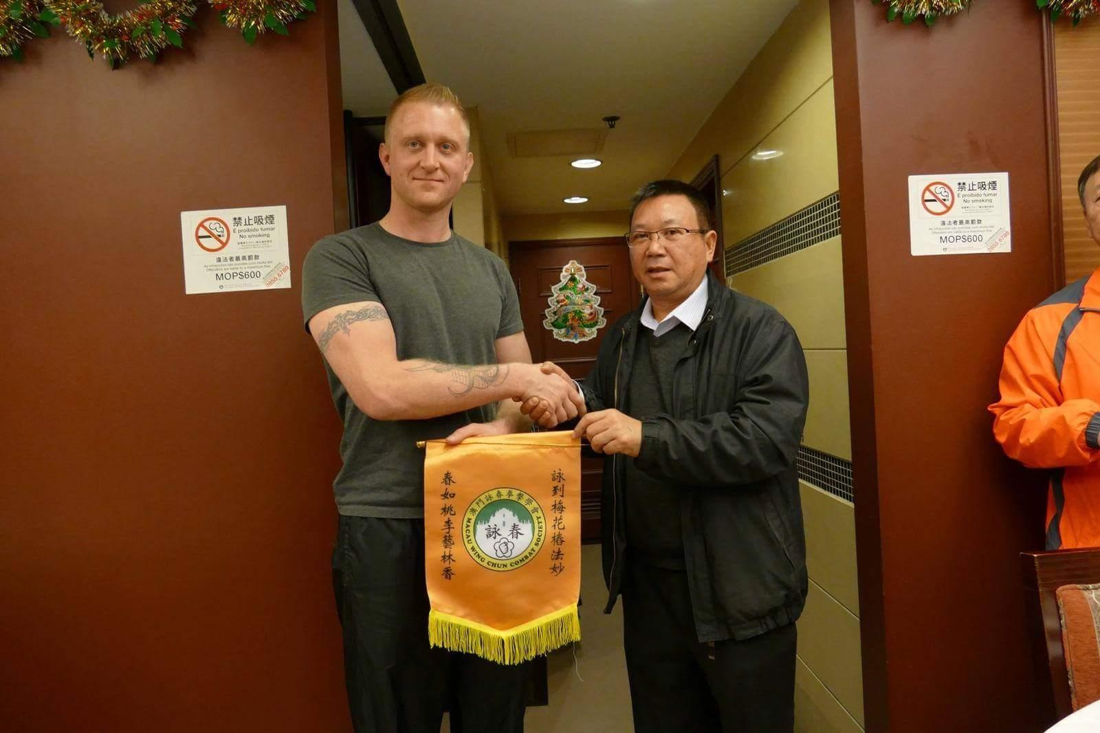 Robert Ley in Macau with M.r K K Mak the Macau Wing Chun Martial Arts Federation Chairman.