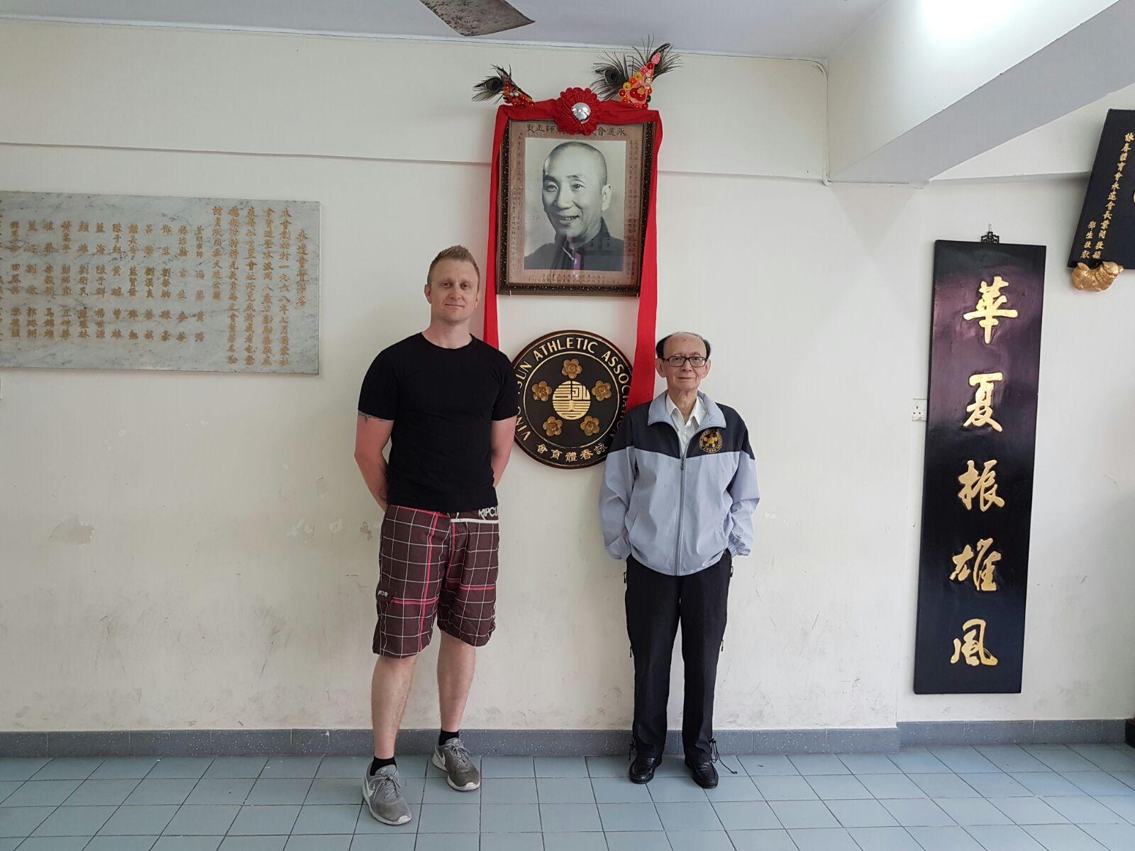 Robert Ley with his Sifu, Gm Roland Tong in the Ving Tsun Athletic Association in Hong Kong