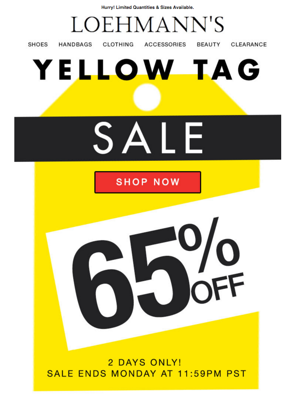 loehmann's yello tag sale 65% OFF