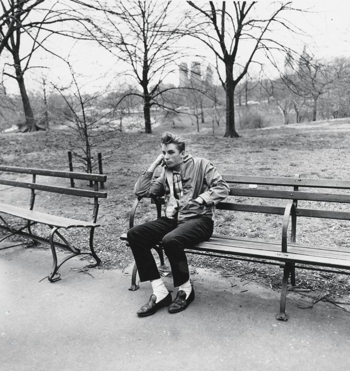 Teenage boy on a bench in Central Park, N.Y.C. 1962