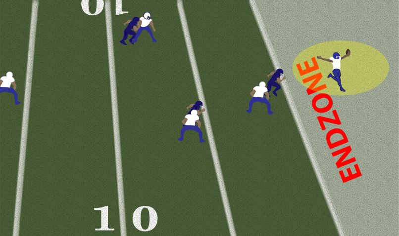 THE TEAM IN WHITE SCORES A TOUCHDOWN BY ADVANCING THE BALL INTO THE ENDZONE.   Click to enlarge