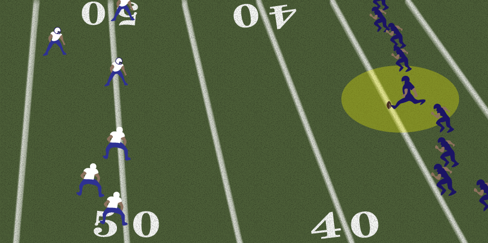 THE KICKER KICKS THE BALL DOWN THE FIELD AT THE BEGINNING OF EACH HALF.   Click to enlarge.