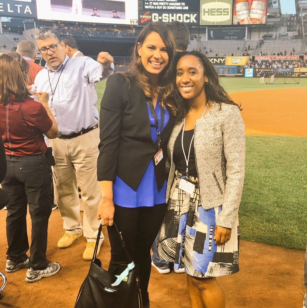 Thompson and Jessica Mendoza (an ESPN MLB analyst) at Yankees Stadium for the 2015 American League Wildcard Game