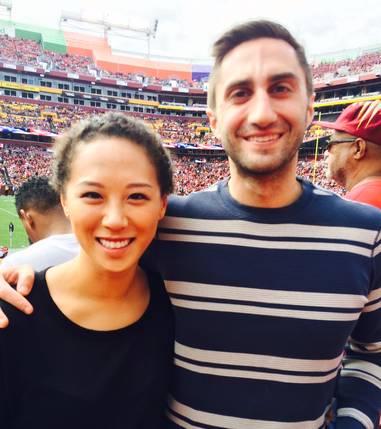 Me and the hubby at a Washington Redskins game.