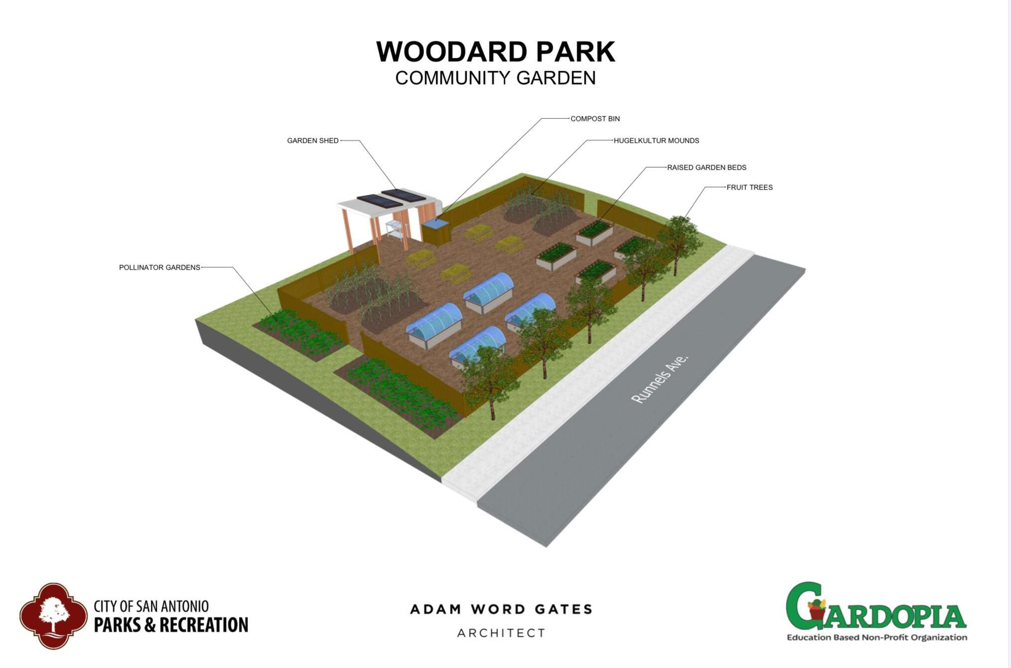 Woodard Park Community Garden Design for the City of San Antonio Parks & Recreation by Adam Word Gates, Architect