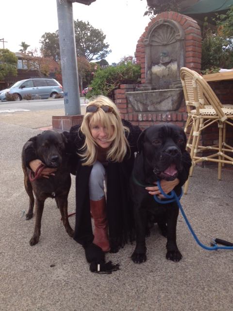 Tricia with Nero and Paco in Del Mar Jan 2013.jpg